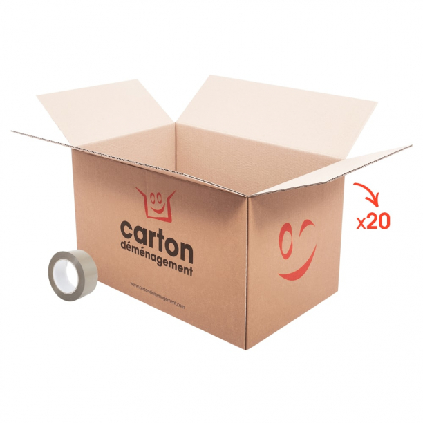 20 cartons standards +1 adhésif gratuit - CartonDemenagement.com