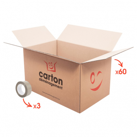 60 cartons standards + 3 adhésifs gratuits - CartonDemenagement.com