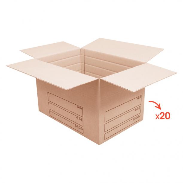 Lot de 20 grands cartons renforcés avec marquage - CartonDemenagement.com